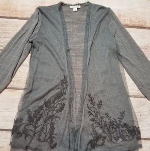Coldwater Creek Grey Embroidered Cardigan